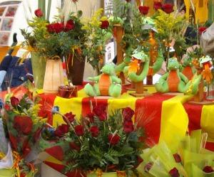 Boeken en rozen tijdens de Diada Sant Jordi