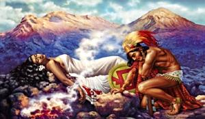 Popocátepetl waakt over de eeuwige droom van zijn geliefde.